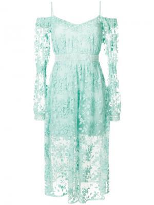 Платье Geneva с открытыми плечами Three Floor. Цвет: зелёный