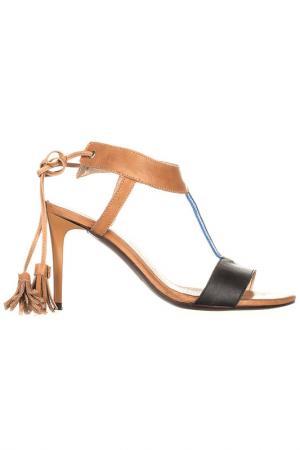Босоножки на каблуке EVA LOPEZ. Цвет: коричневый