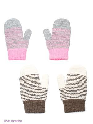 Варежки, 2 пары FOMAS. Цвет: светло-серый, розовый, белый