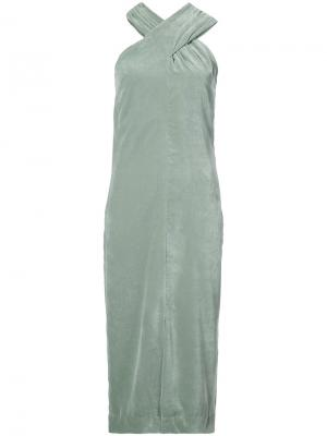 Бархатное платье с лямки крест-накрест Nomia. Цвет: зелёный