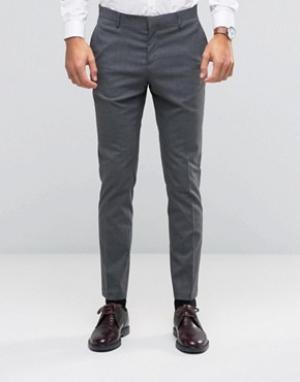 ASOS Строгие эластичные зауженные брюки WEDDING. Цвет: серый