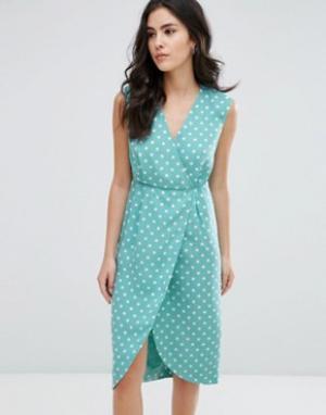 Darling Фактурное платье миди с запахом. Цвет: синий