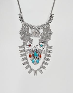 ASOS Ожерелье с камнями DESIGN. Цвет: серебряный