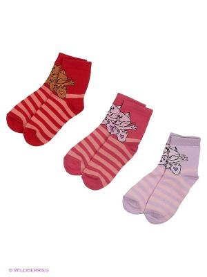Носки, 3 пары Гамма. Цвет: малиновый, красный, сиреневый