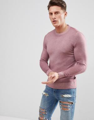 Ted Baker Шерстяной трикотажный джемпер с круглым вырезом. Цвет: розовый