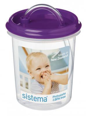 Детская чашка с трубочкой 250мл Sistema. Цвет: фиолетовый