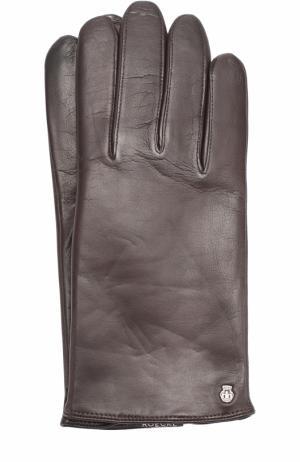 Кожаные перчатки с шерстяной подкладкой Roeckl. Цвет: темно-коричневый