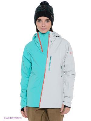 Сноубордическая куртка SUMMIT JK ROXY. Цвет: светло-серый, зеленый