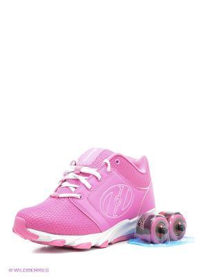 Роликовые кроссовки Heelys. Цвет: розовый, белый