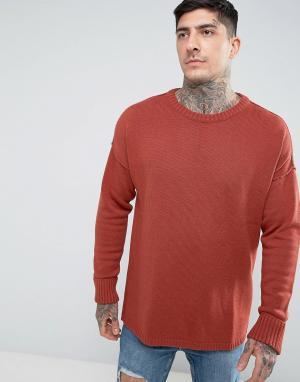 Another Influence Трикотажный джемпер с заниженной линией плеч. Цвет: коричневый