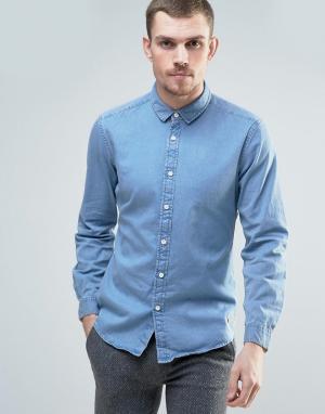 Esprit Светлая джинсовая рубашка. Цвет: синий
