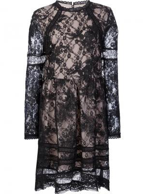 Кружевное мини-платье Alice+Olivia. Цвет: чёрный