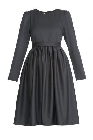 Платье из шерсти с поясом 173146 Villa Turgenev. Цвет: серый