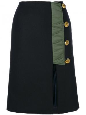 Асимметричная юбка на пуговицах Sacai. Цвет: синий