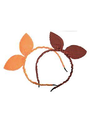 Ободок ушки со стразами Bizon. Цвет: оранжевый