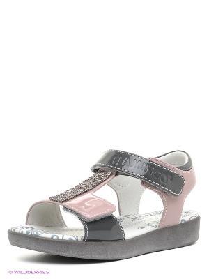 Сандалии Flamingo. Цвет: серый, бледно-розовый