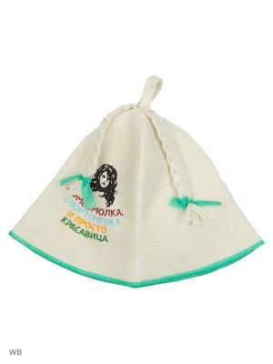 Шапка для бани модельная в косметичке Комсомолка, спортсменка.. Метиз. Цвет: белый, зеленый