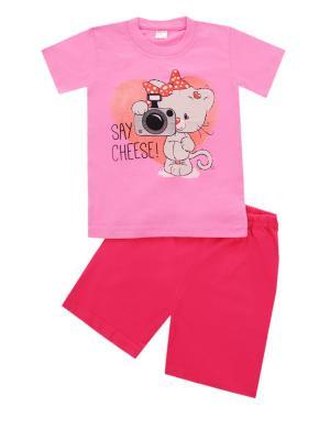 Комплект: футболка, шорты Sladikmladik. Цвет: розовый, красный