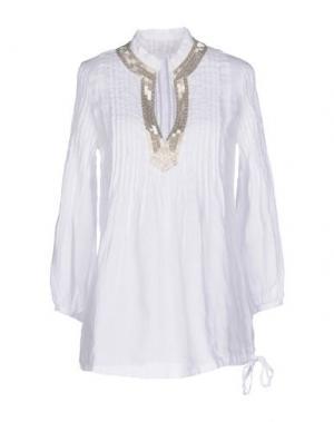 Блузка 120% LINO. Цвет: белый