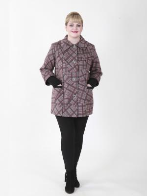 Пальто Бленда VIKO. Цвет: серый, красный