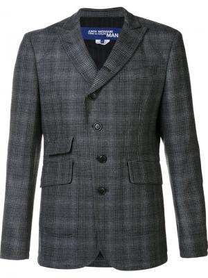 Пиджак с заостренными лацканами в клетку Junya Watanabe Comme Des Garçons. Цвет: серый