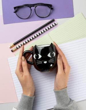 Sass & Belle Черная кружка в виде кота. Цвет: мульти
