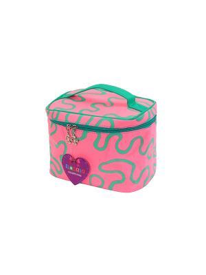 Косметичка Розовая с узором EL CASA. Цвет: розовый, зеленый
