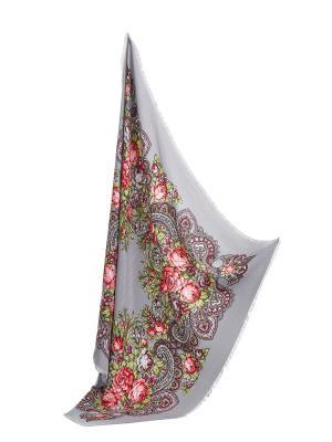 Платок с павлопосадским узором и бахромой, 96 x cm Nothing but Love. Цвет: серый, розовый, салатовый