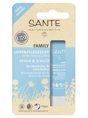 Family бальзам для губ Восстановление и уход чувствительной кожи с  Био - Ши Какао Sante. Цвет: прозрачный
