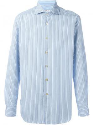 Полосатая рубашка Kiton. Цвет: синий