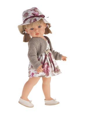 Кукла Белла в шляпке,блондинка, 45 см Antonio Juan. Цвет: бежевый, розовый, серый