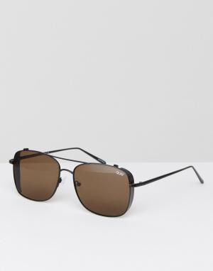 Quay Australia Коричневые квадратные солнцезащитные очки с планкой сверху Austra. Цвет: коричневый