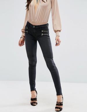 Lovers + Friends Байкерские джинсы с молниями Cole. Цвет: черный