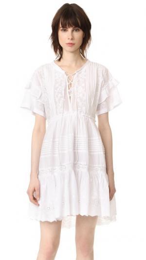 Платье с оборками и шнуровкой The Kooples. Цвет: белый