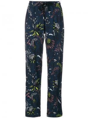 Строгие брюки с вышивкой Markus Lupfer. Цвет: синий
