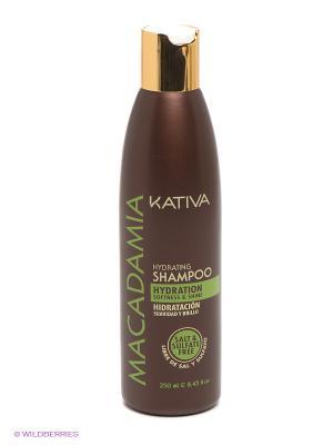 Интенсивно увлажняющий шампунь Kativa для нормальных и поврежденных волос MACADAMIA, 250мл. Цвет: коричневый