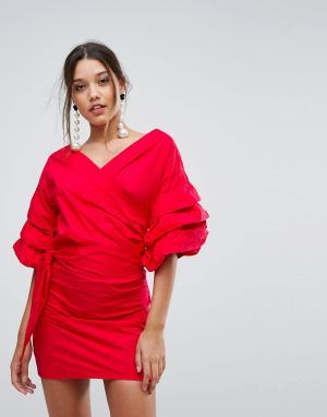 Lioness Платье мини с открытыми плечами и сборками на рукавах. Цвет: красный