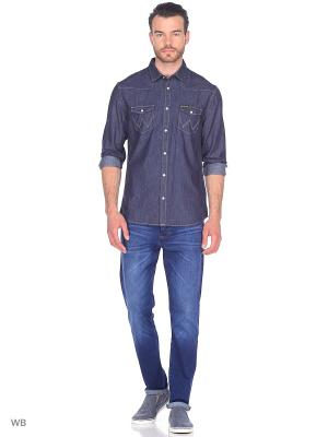 Рубашка WESTERN DENIM Wrangler. Цвет: темно-синий