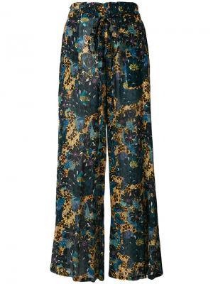 Расклешенные брюки с цветочным принтом Raquel Allegra. Цвет: синий
