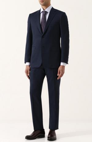 Шерстяной костюм с пиджаком на двух пуговицах Brioni. Цвет: темно-синий