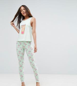 ASOS Tall Пижамный комплект Make Mine A One. Цвет: зеленый