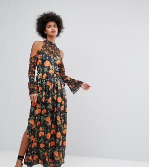 Horrockses Платье макси с цветочным принтом и рукавами клеш завязками Horrockse. Цвет: мульти