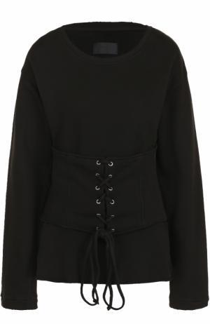 Хлопковый пуловер с круглым вырезом и шнуровкой RTA. Цвет: черный