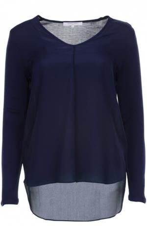 Пуловер с удлиненной спинкой и V-образным вырезом Gerard Darel. Цвет: темно-синий