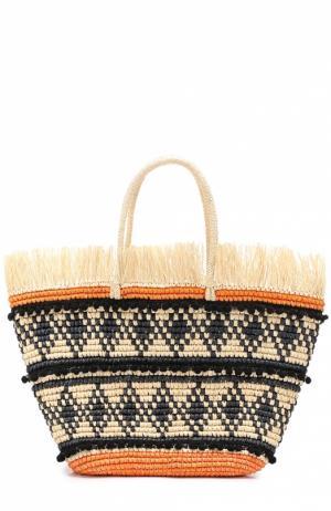 Плетеная сумка с декором Sensi Studio. Цвет: бежевый