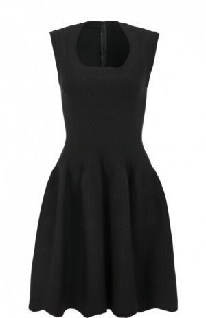 Приталенное мини-платье с круглым вырезом Alaia. Цвет: черный