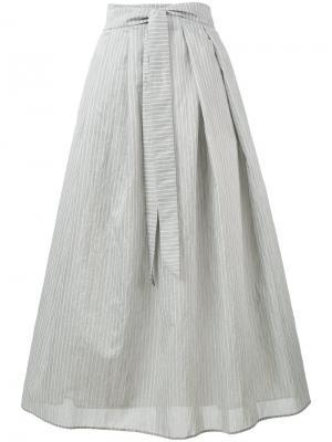 Юбка в тонкую полоску средней длины Fabiana Filippi. Цвет: серый