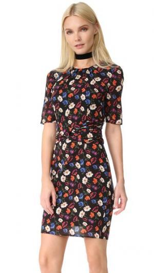 Шелковое платье с фиалковым принтом Whistles. Цвет: мульти