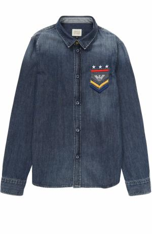 Джинсовая рубашка с потертостями Armani Junior. Цвет: синий
