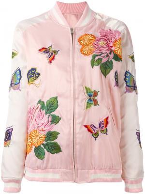 Куртка-бомбер с цветочной вышивкой P.A.R.O.S.H.. Цвет: розовый и фиолетовый